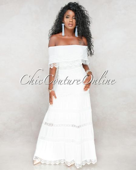 Montana Off-White Crochet Off The Shoulder Maxi Dress