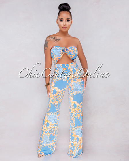 Aphrodite Baby Blue Gold Print Key-Hole Jumpsuit