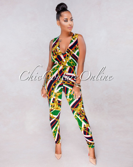 Tommy Green Multi-Color Gold Print Key-Hole Jumpsuit
