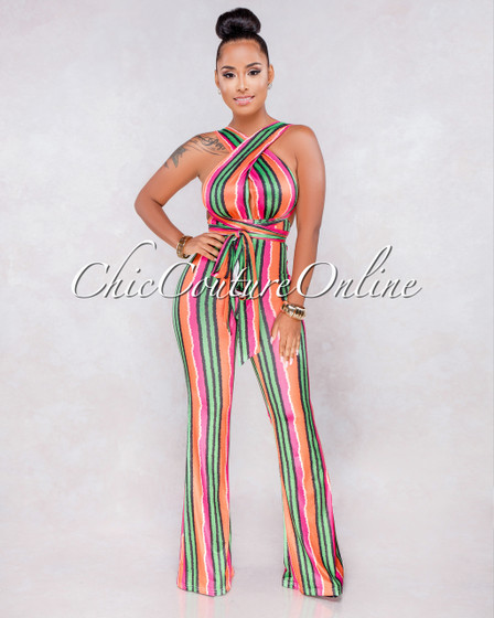 California Green Orange Multi-Color Stripes Multi-Way Jumpsuit