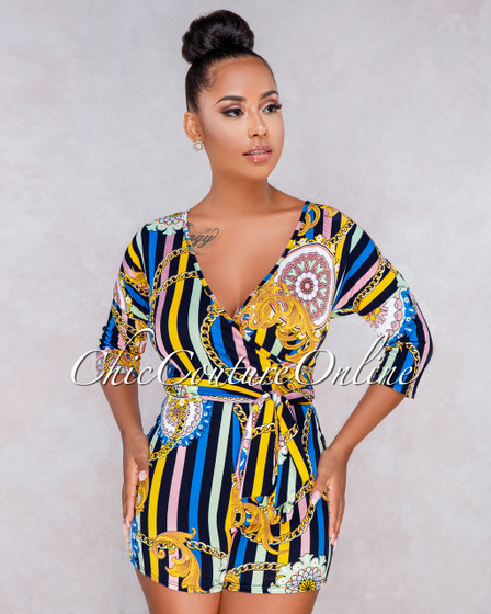 Bellini Navy Blue Multi Color Print Wrap Romper