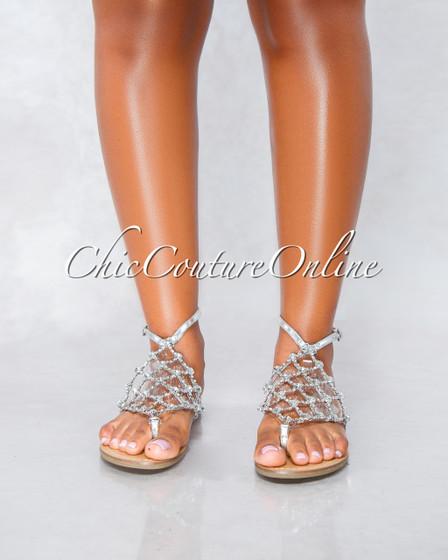 Sophia Silver Trim Rhinestone Flat Sandals