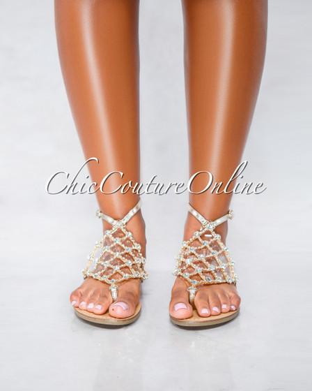 Sophia Gold Silver Trim Rhinestone Flat Sandals
