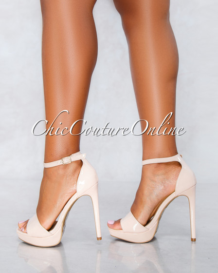 Ligia Nude Ankle Strap High Heel Sandals