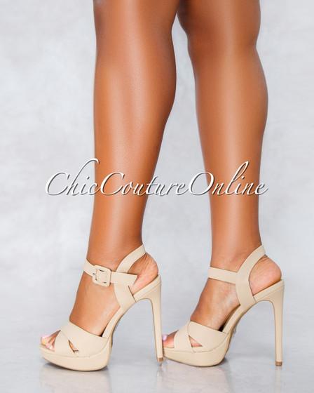 Cain Nude Criss-Cross High Heel Sandals