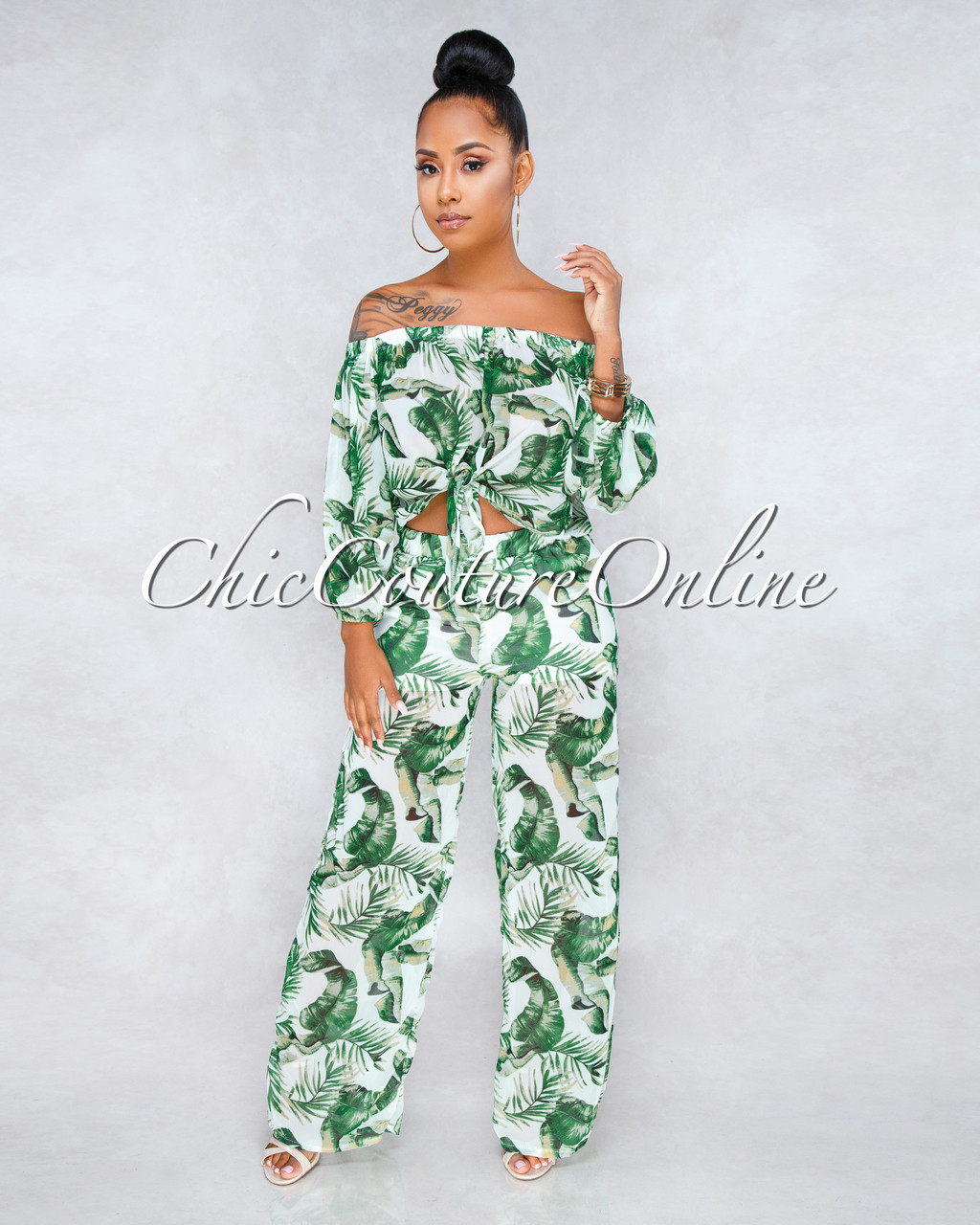 c650264a78e656 ... Keira Green Palm Print Two Piece Set. Loading zoom