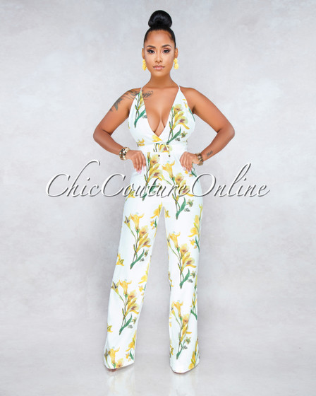 Violeta Off White Yellow Floral Jumpsuit