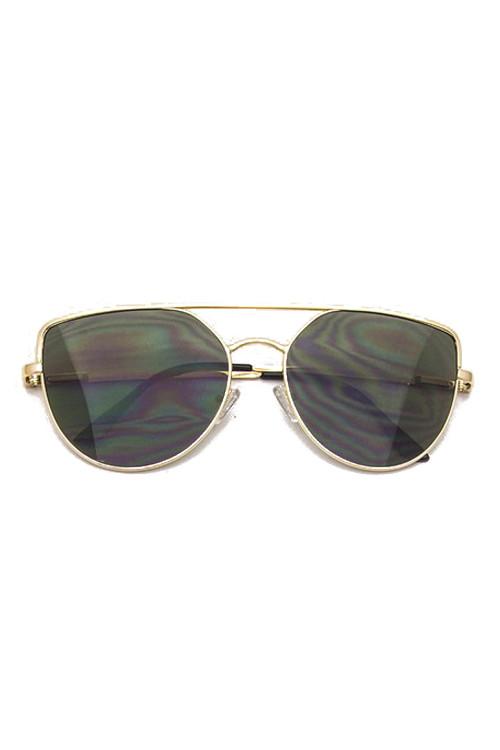 9a72882f4184 Sully Gold Frame   Black Lens Brow Line Sunglasses. Price   20.00. Image 1