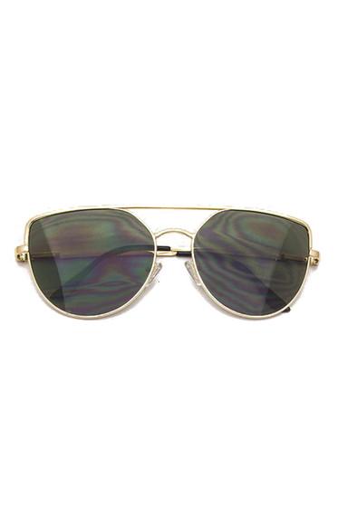 Sully Gold Frame & Black Lens Brow Line Sunglasses
