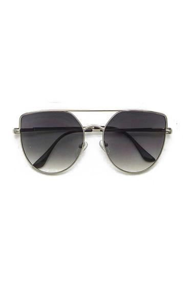 Sully Silver Frame & Black Lens Brow Line Sunglasses