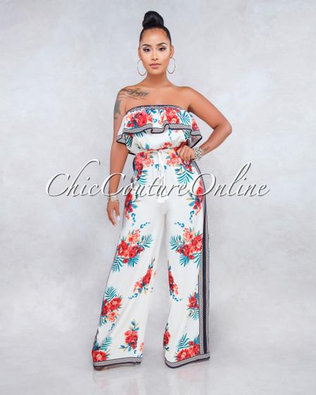 Imara Ivory Multi Color Floral Print Jumpsuit