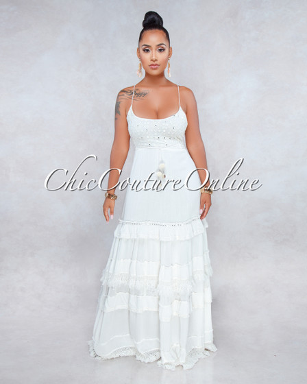 Rania Off-White Sequins Accent Tier Maxi Dress