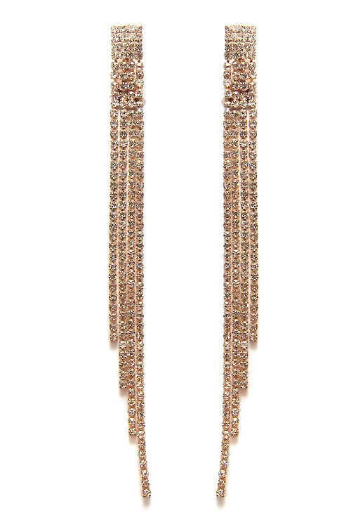 new products biggest discount good texture Disco Golden Long Rhinestone Pave Clip Dangle Earrings