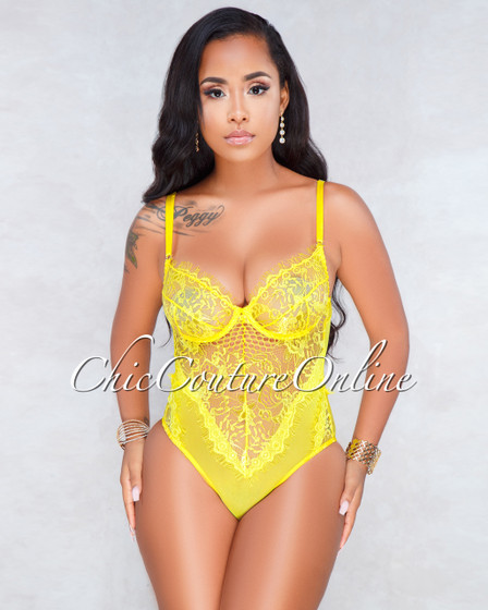 Audria Sunny Yellow Sheer Lace Bodysuit