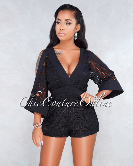 Melia Black Crochet Cold Shoulder Romper