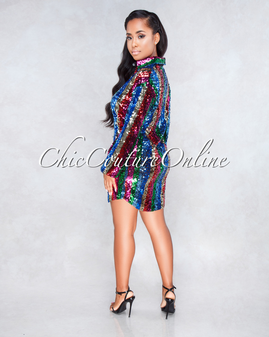 15d0eaa94f601 Verty Multi Color Sequin Stripes Shirt Dress. Price   100.00. Image 1.  Larger   More Photos