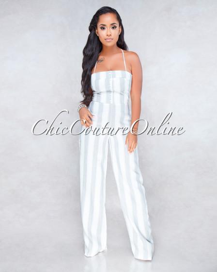 Delina Off-White Grey Stripes Jumpsuit