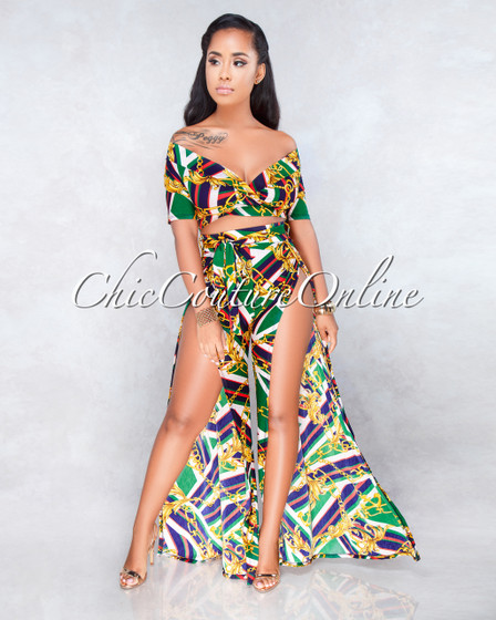 Mayling Green Red Multi-Color Chain Print Two Piece Set