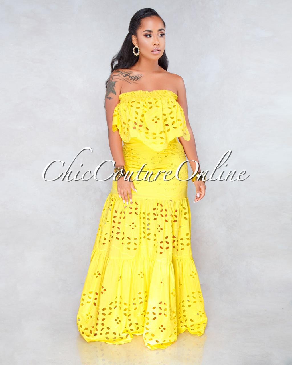 ac24e8ca5c87 Calvin Yellow Eyelet Two Piece Maxi Skirt Set. Price: $130.00. or 4  interest-free installments of $32.50 by Afterpay ⓘ. Image 1