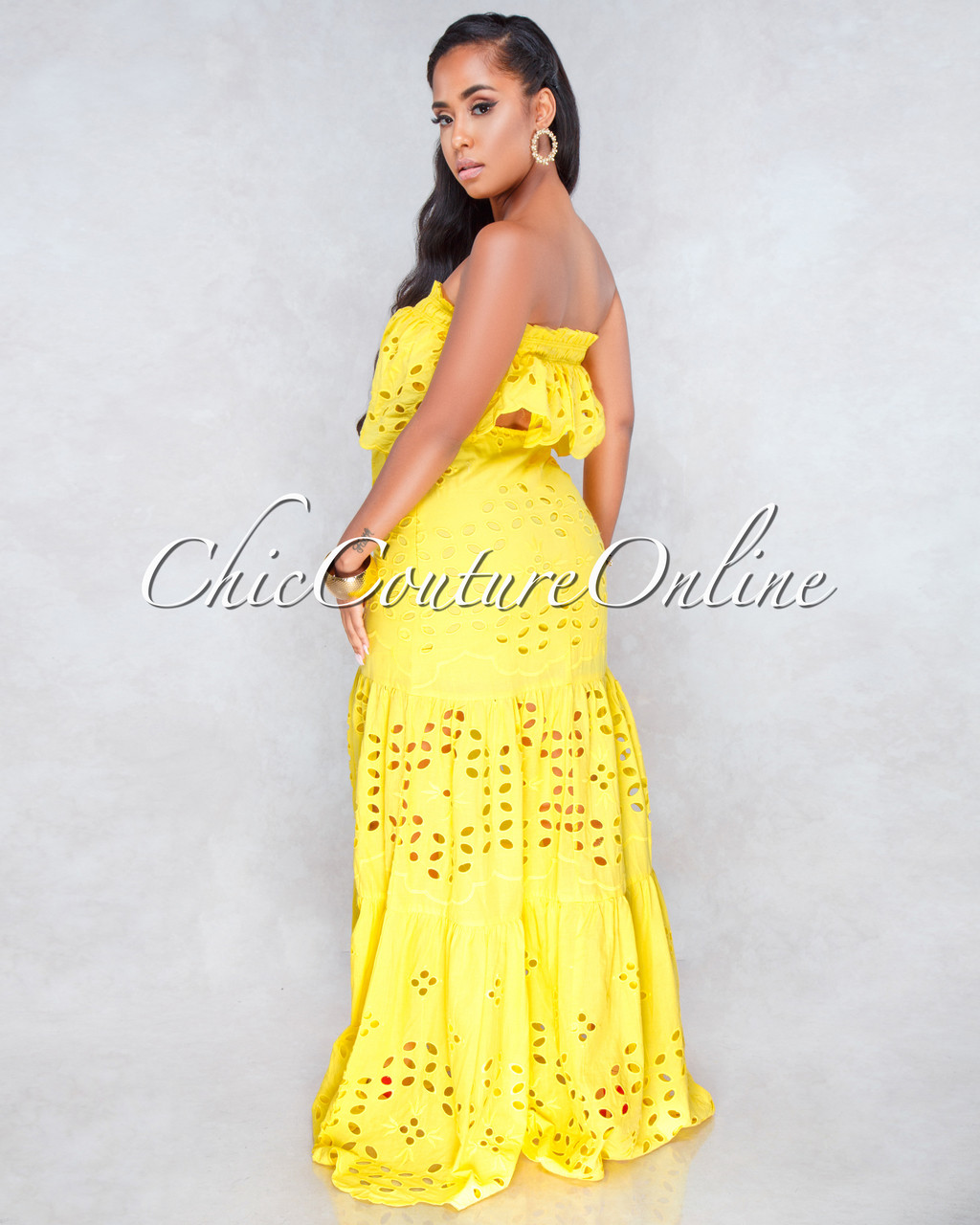 2d865a03c975 Calvin Yellow Eyelet Two Piece Maxi Skirt Set. Price: $130.00. or 4  interest-free installments of $32.50 by Afterpay ⓘ. Image 1. Larger / More  Photos