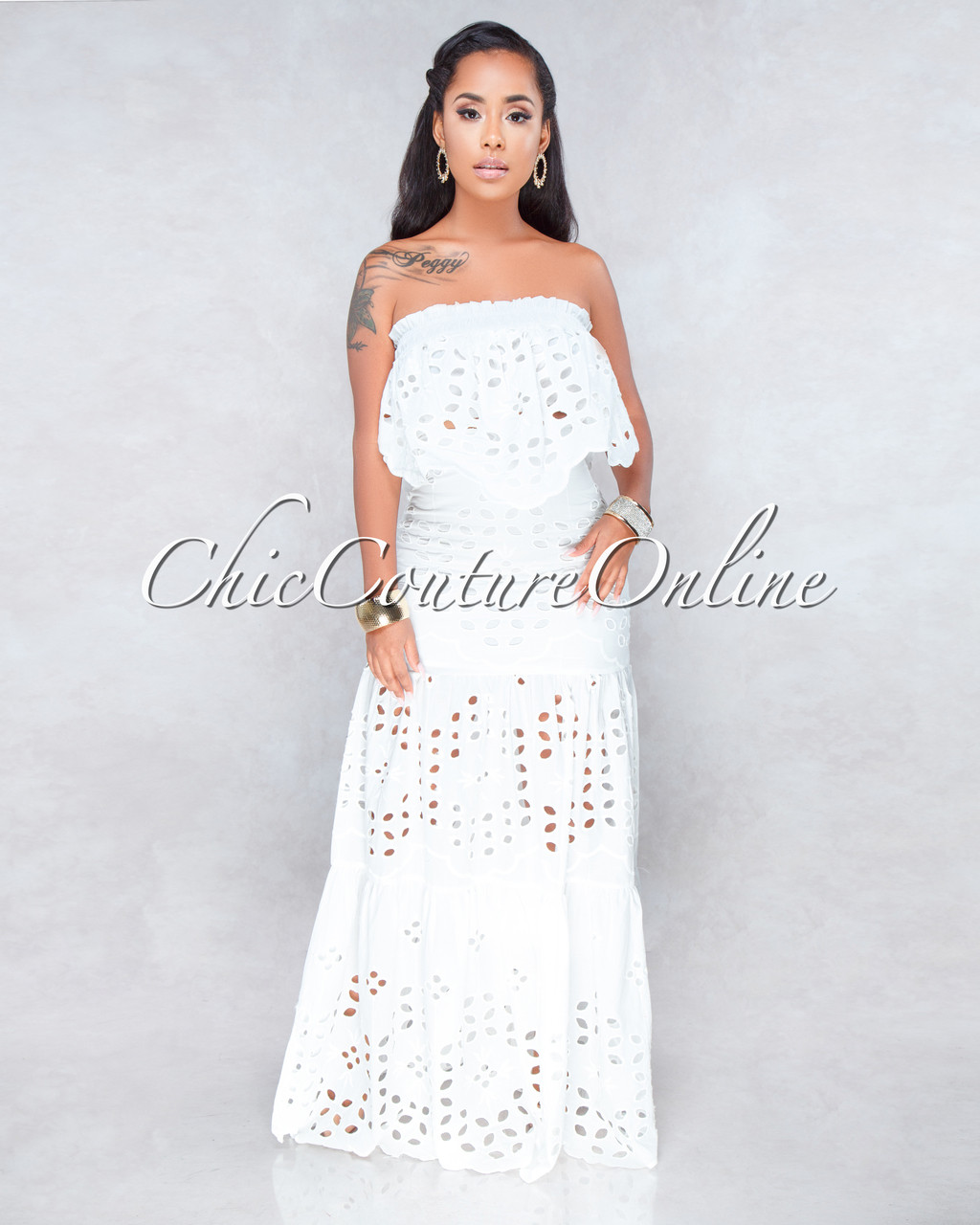 6202063d8bcb Calvin Off-White Eyelet Two Piece Maxi Skirt Set. Price: $130.00. or 4  interest-free installments of $32.50 by Afterpay ⓘ. Image 1
