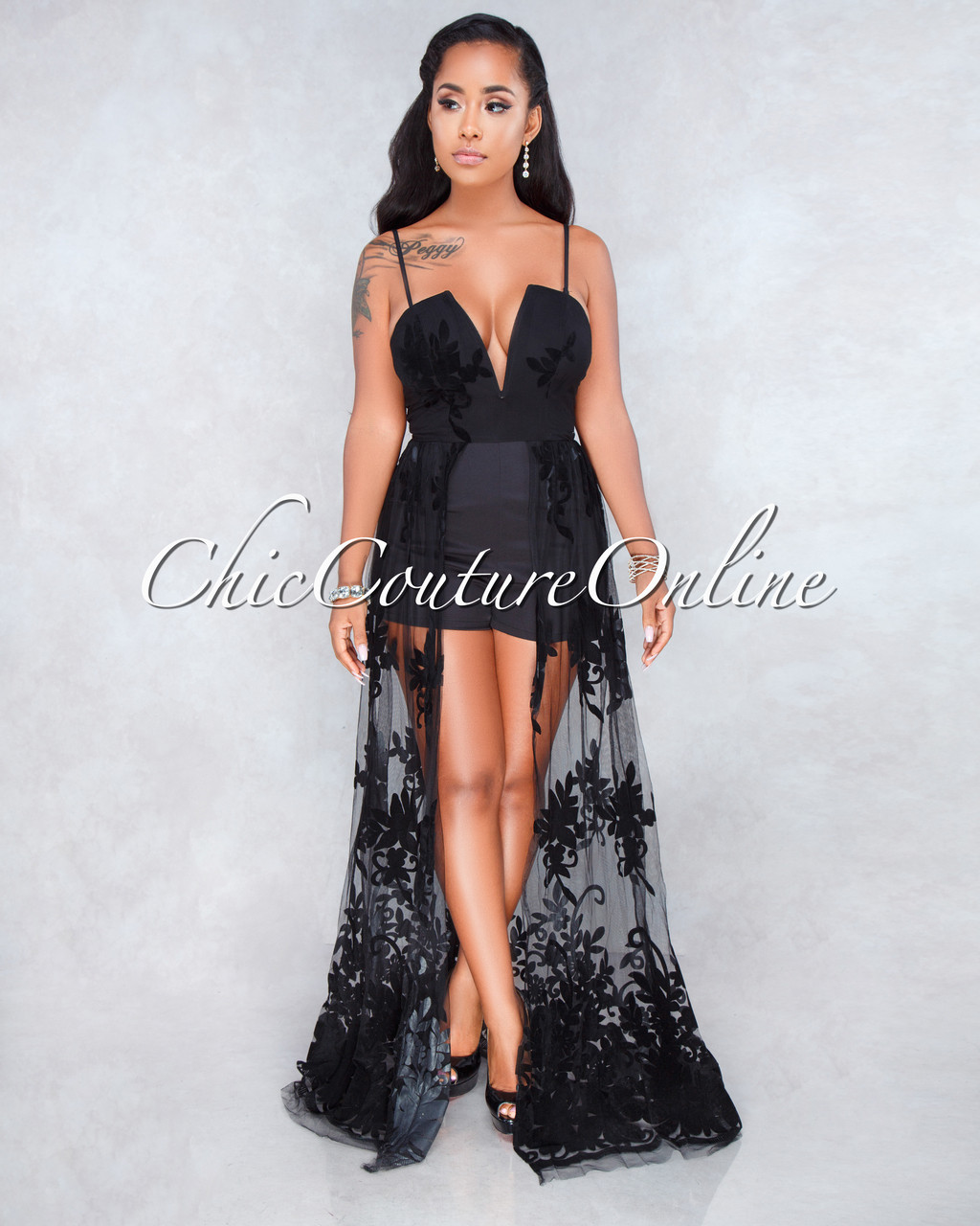 8909c08e69a Sarah Black Lace Overlay Romper Maxi Dress