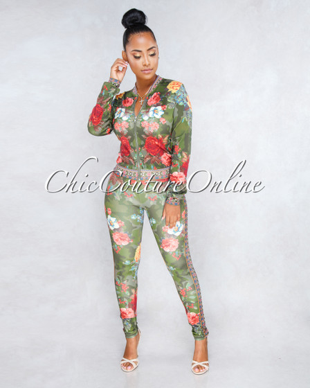 Soho Olive Green Camo Multi-Color Floral Print Two Piece Set