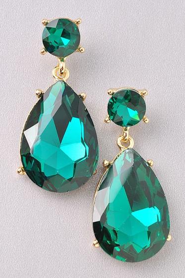 Angelina Golden Emerald Green Double Stone Earrings