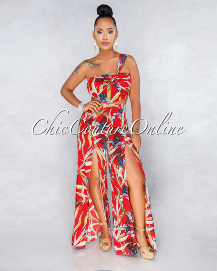 Corinne Red Floral Print Pants Two Piece Set