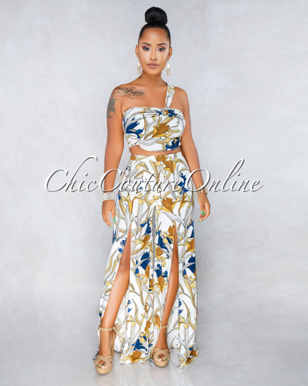 Corinne Off White Floral Print Pants Two Piece Set