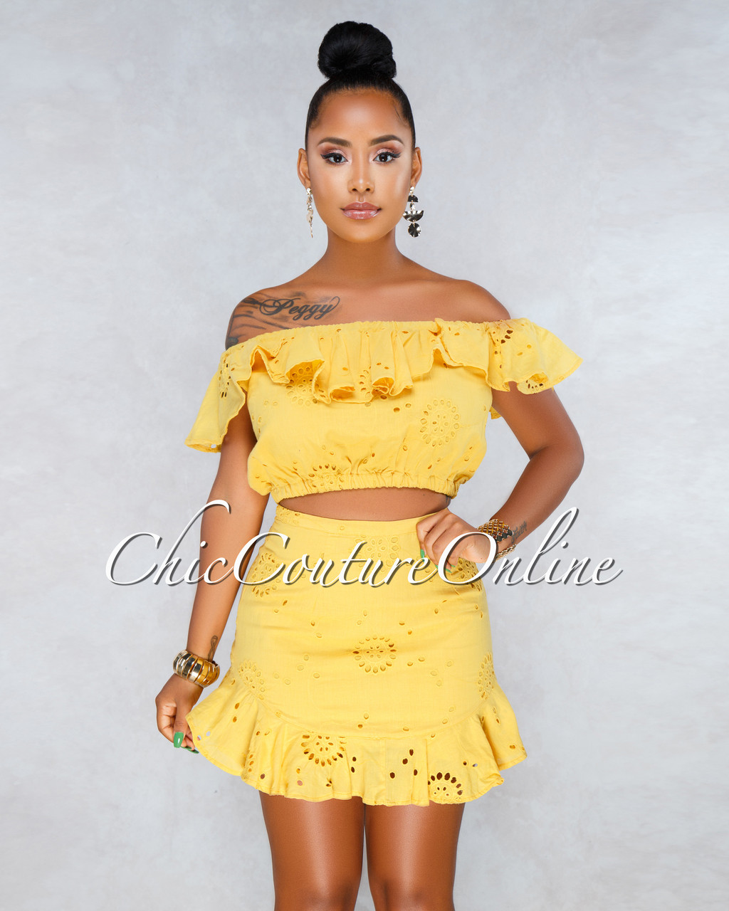 75ca51f31413 Synn Mustard Yellow Eyelet Top & Skirt Two Piece Set