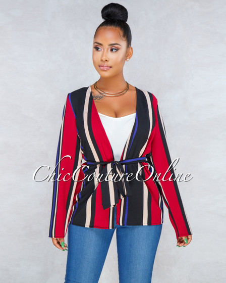 Royalty Red Multi Color Stripes Lightweight Blazer