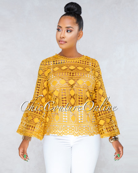 Myriam Mustard Yellow Crochet Bell Sleeves Top