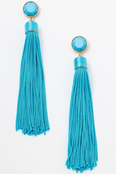 Tomi Turquoise Blue Long Tassel Earrings