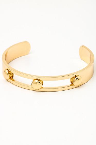 Anika Golden Three Dotted Polished Cuff Bracelet