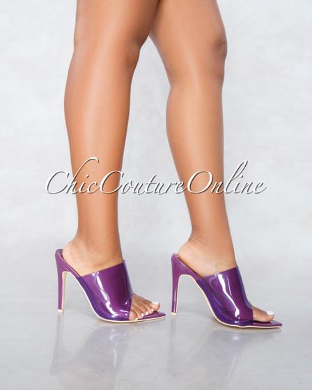 Mackin Eggplant Clear Strap Pointed Toe Heels