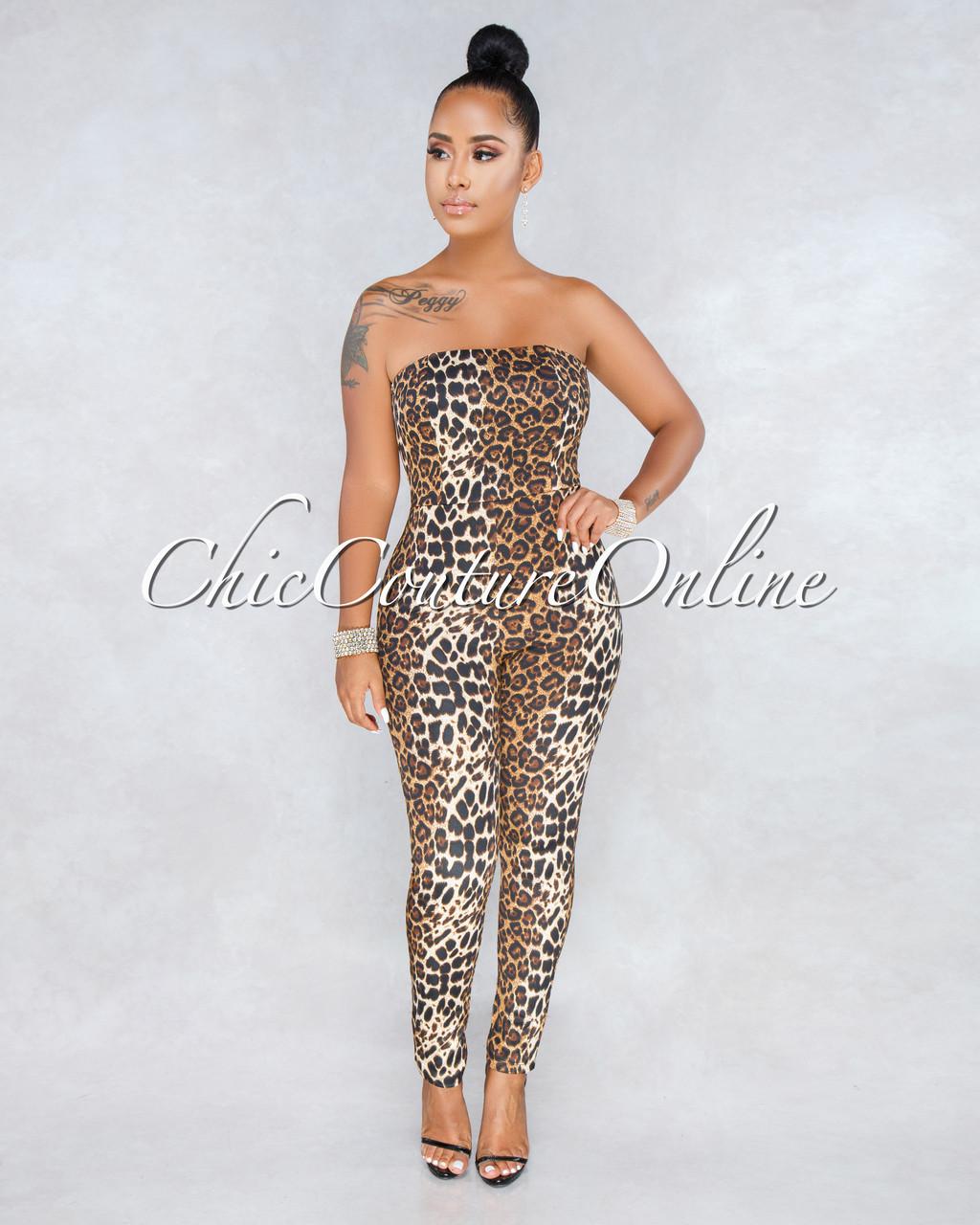 6bcf070e5ce Karytza Leopard Print Lace Up Back Strapless Jumpsuit