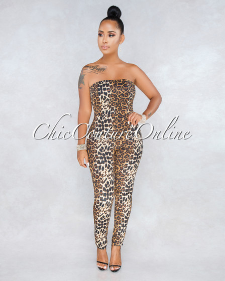 Karytza Leopard Print Lace Up Back Strapless Jumpsuit