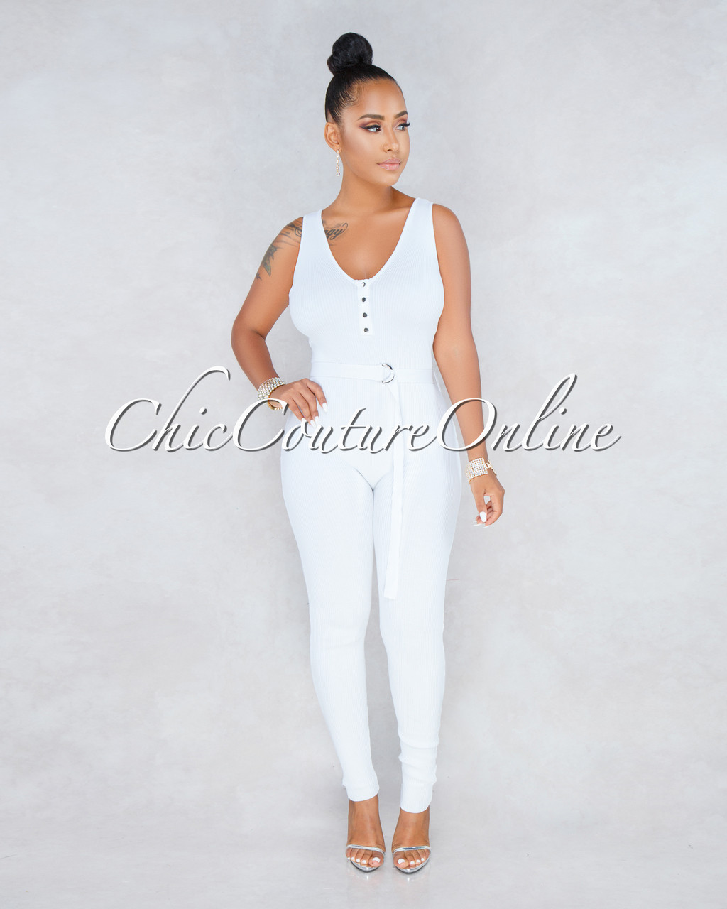 b731b346f8d Joelle White Ribbed Fitted Jumpsuit. Price   55.00. Image 1