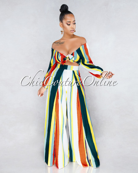 Zayne Off-White Multi Color Stripes Two Piece Set