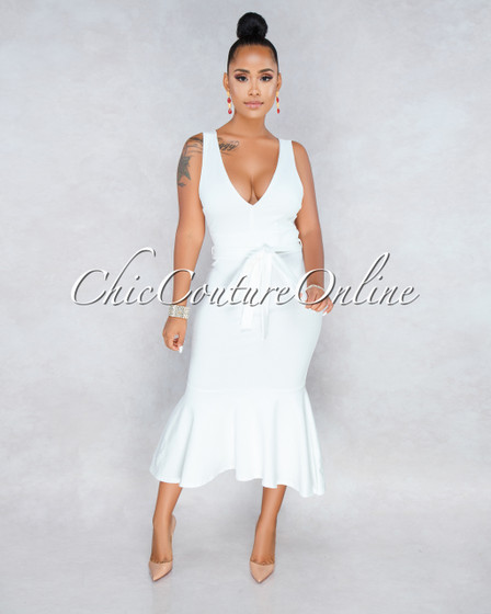 Valencia Off White Flutter Bottom Midi Dress