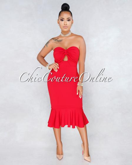 Tarik Red Strapless Flutter Bottom Midi Dress