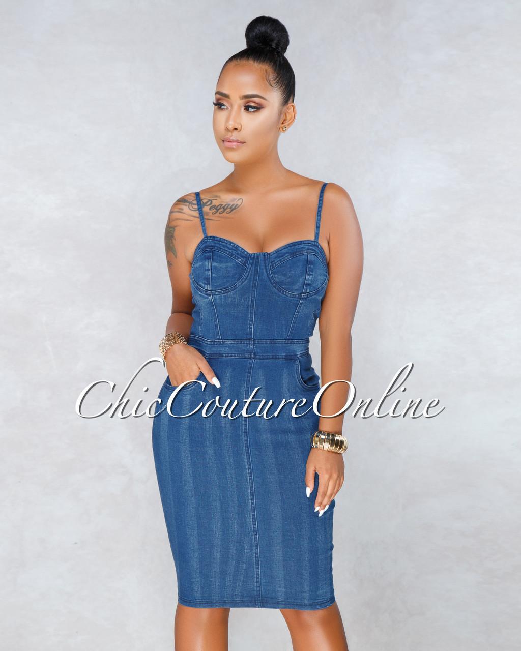 5387293e34 Manzie Blue Denim Bodycon Dress. Price   50.00. Image 1