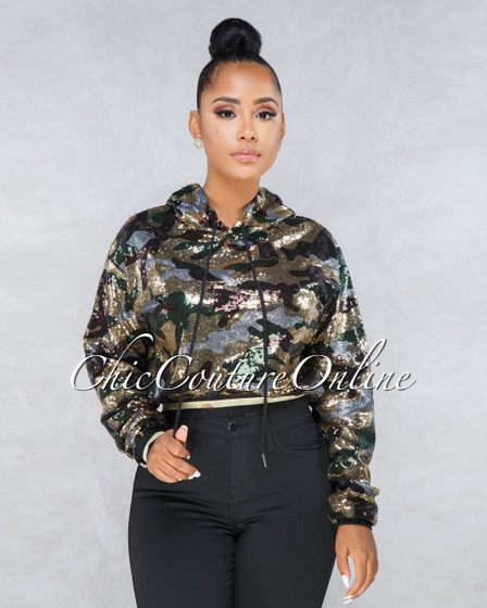 Abbey Camo Print Sequins Hoodie Jacket