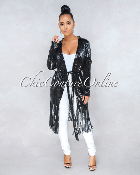 Imperial Black Sequin Fringe Luxe Jacket
