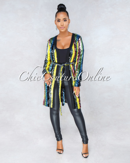 One Night Multi-Color Sequins Long Luxe Jacket