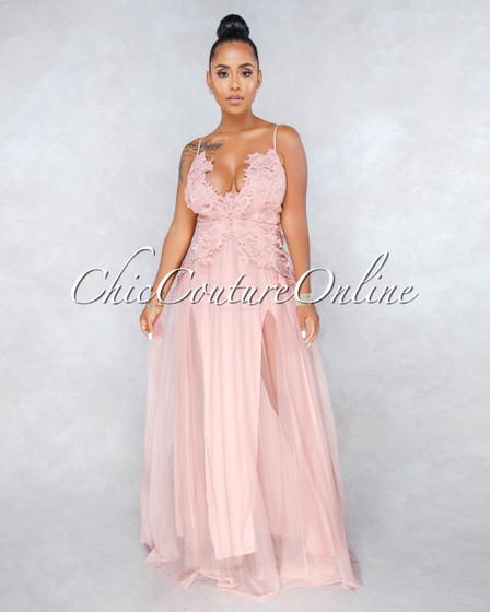 Danika Blush Crochet Tulle Maxi Dress
