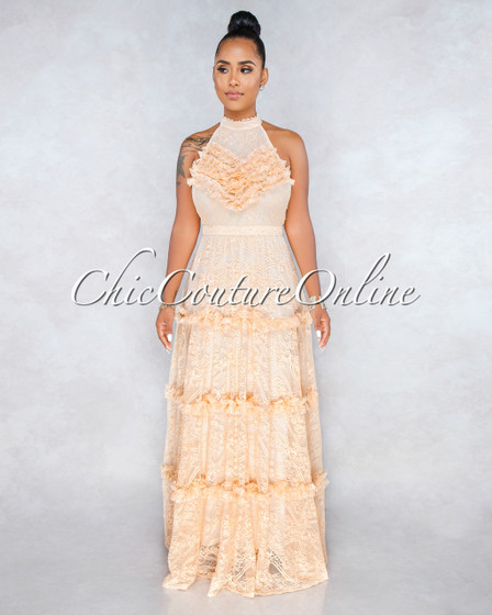 Londyn Peach Luxe Lace Overlay Maxi Dress