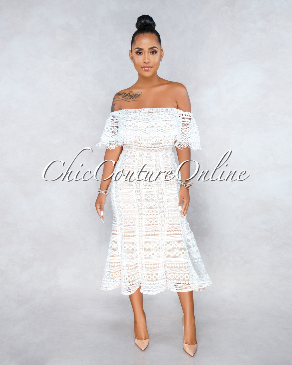 3cdf83db12cc Romance White Nude Illusion Crochet Midi Dress