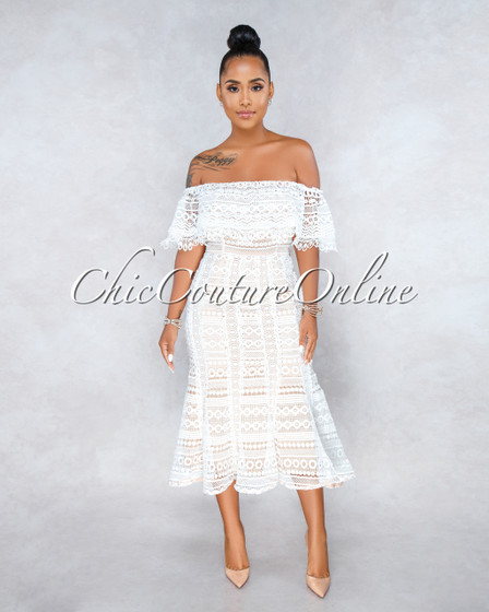 Romance White Nude Illusion Crochet Midi Dress